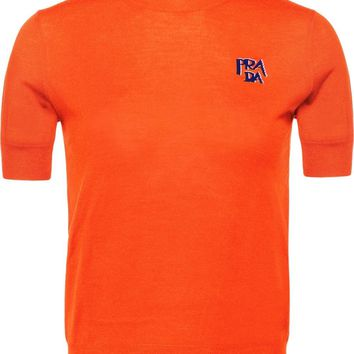 Ladies Orange Short Sleeve Wool Top by Prada