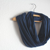 Navy Blue Infinity Scarf - Navy Blue Scarf- November trends