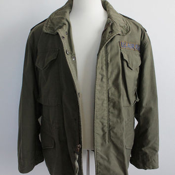 Vintage 70s Men's Air Force Flight Jacket with Hood | medium