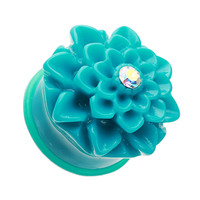 Charming Chrysanthemum Flower Single Flared Ear Gauge Plug