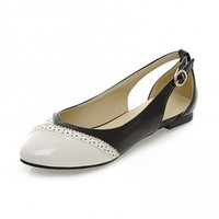 Sweet Style Point Toe Patent Leather Hollow Buckle Designer Flats