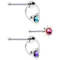 Aqua Rose Violet Crystal Heart Knocker and Starburst Nose Bone Set | Body Candy Body Jewelry
