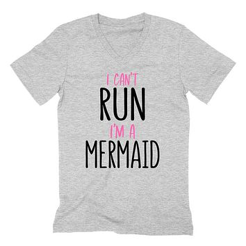 I can't run I'm a mermaid, funny mermaid saying, Mermaid hair, funny graphic  V Neck T Shirt