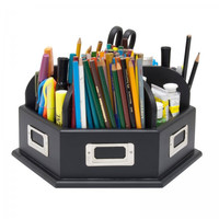 "Wooden Desk Carousel (Black) (6.25""H x 12""W x 12""D)"