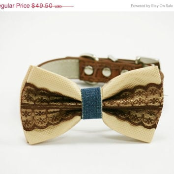 Creamand brown dog bow tie, Cream and  Brown Wedding accessory, Pet wedding accessory, Country wedding, Dog Lovers, Bow with Lace,BlueJean