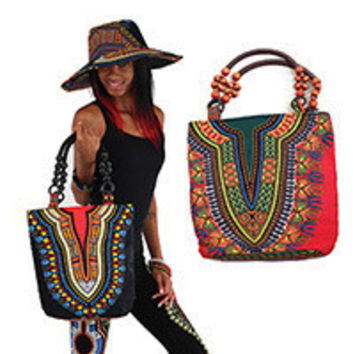 African Dashiki Inspired Traditional Print Beaded Tote Bag