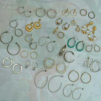 Lot of 24 Pairs of Hoop Earrings Enamel Beads Lever Backs Stud Shrimp Wires
