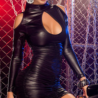 2 Style Sexy Black Leather Vinyl Bodycon Mini Dress Gothic Hollow Out