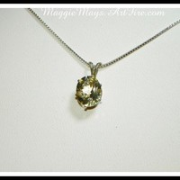 Tanzanian Rare Yellow Scapolite Gemstone Pendant Necklace