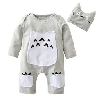 Newborn Cute Cartoon Totoro style 100%Cotton Long sleeve  Baby Boys Girls Romper+Hat Infant 2pcs Toddler Clothing Suit