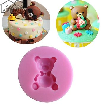 Cute Bear Shape Chocolate Candy Jello 3D Silicone Mold Cartoon Figre/Cake Tools Soap Mold Sugar Craft Cake Decoration