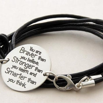 You are braver than you believe ... sterling silver inspirational quote leather bracelet ... Handmade Jewelry ... graduation gift ... BFF