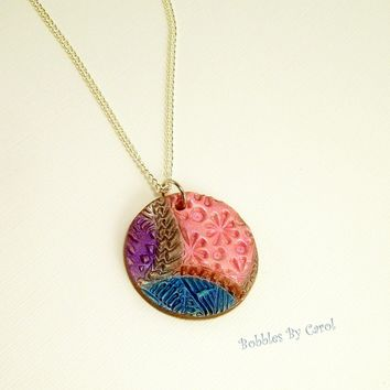 Abstract Art Pendant Necklace, Wearable Art, Everyday Wear, Fun Jewelry, For Women or Young Girl, Handmade Polymer Clay Jewery