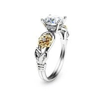 Unique Moissanite Engagement Ring 14K Two Tone Gold Bridal Ring Flower Moissanite Engagement Ring