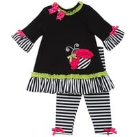 Rare Editions Ladybug Babydoll Top & Striped Leggings Set - Toddler