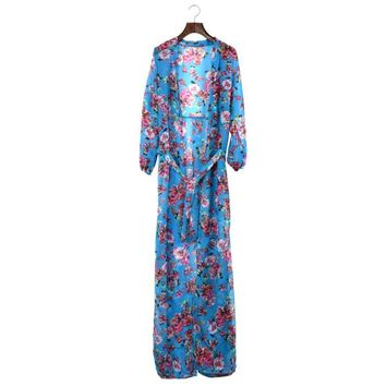JECKSION Tropical Floral Resort Beach Women Dress 2016 New Elegant Boho Summer Slit Chiffon Long Dress Maix Dresses #LSIN