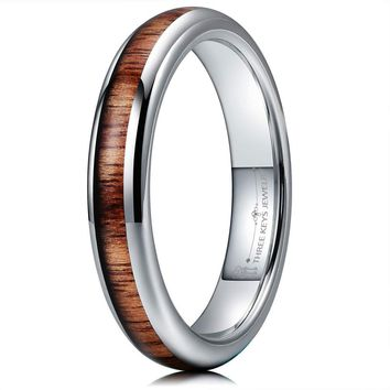 CERTIFIED 4mm Tungsten Domed Real Koa Wood Inlay Silver Rose Gold Wedding Band