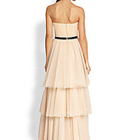 Badgley Mischka - Lace-Inset Strapless Tulle Gown - Saks Fifth Avenue Mobile