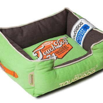Touchdog Original Sporty Vintage Throwback Reversible Plush Rectangular Dog Bed: Medium
