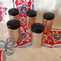 Vintage Copper Spice Canisters Jars- Ginger- Cloves- Paprika- Allspice- Nutmeg- Made in Italy