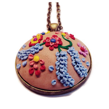 Nature pendant Clay charm Polymer clay Beige necklace Christmas jewelry Flower necklace Bohemian pendant Statement necklace Gift idea