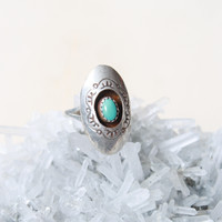 Vintage Sterling Silver Shadowbox Turquoise Ring