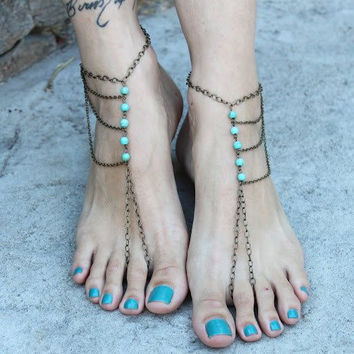 Jewelry New Arrival Gift Ladies Cute Shiny Summer Fashion Stylish Sexy Turquoise Tassels Anklet [6768760967]