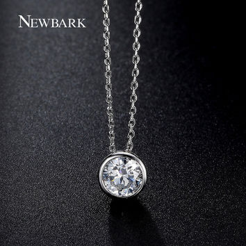Simply Small Round 1 carat Cubic Zirconia Solitaire Pendant Necklace CZ Diamond Bezel-Set Wedding Necklace Jewelry ( JN032D)