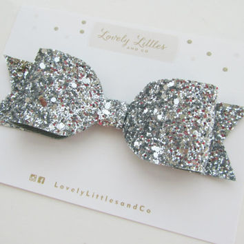 Girl and adult Oversized Silver glitter fabric bow hair clip - so sparkly and non shedding glitter!!