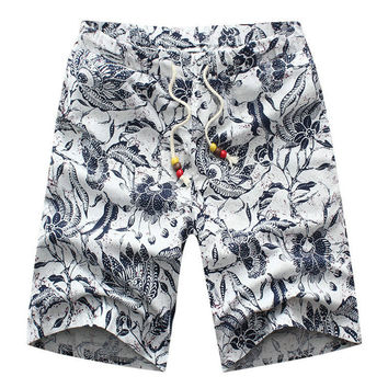 Plus Size 2015 Men Beach Shorts Casual Linen Drawstring Print Men Summer Shorts M-6XL 6 Colors (Asian Size)
