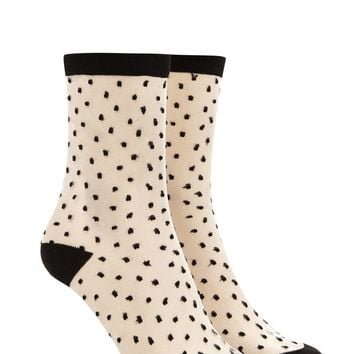 Mesh Polka Dot Crew Socks