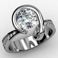 AMAZING 5.10CT WHITE ROUND CUT 925 STERLING SILVER ENGAGEMENT RING FOR HER