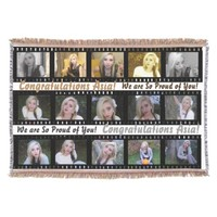 """15 photographs in a """"film strip"""" photo collage throw"""