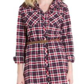 E2 Clothing Navy and Red Flannel Plaid Shirt Dress with Belt ET08201