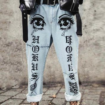 Summer ladies print slim low waist white nine straight leg pants jeans