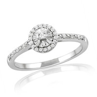 1/6 CT. T.W. Diamond Frame Promise Ring in Sterling Silver