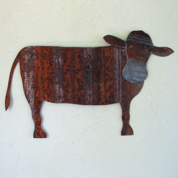 Animal folk art decor - Cow - farm animals barn yard art repurposed metal folk art