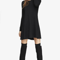 LONG SLEEVE ZIP BACK TRAPEZE DRESS - BLACK from EXPRESS