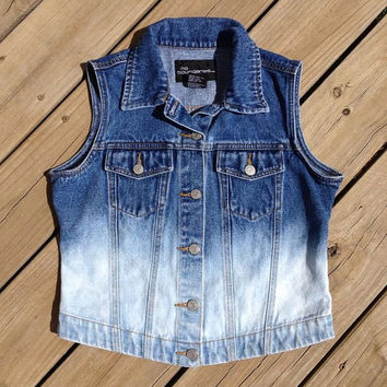 Denim Ombre Bleached Vest Size S by DenimAndStuds on Etsy
