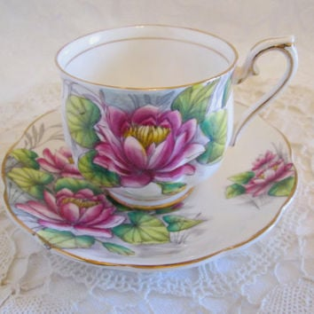 "Royal Albert  ""Water Lilly""  Flower of the Month Tea Cup and Saucer #7 July, Royal Albert Violet Floral Bone China - England"