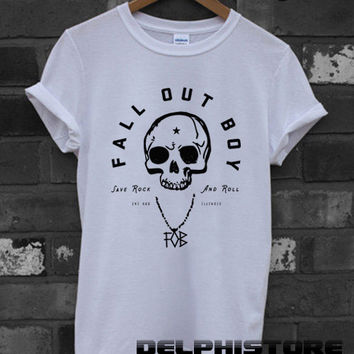 fall out boy shirt FOB logo t-shirt printed white unisex size (DL-92)
