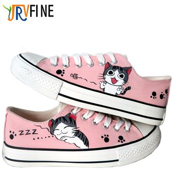 Cartoon Cat Unisex Hand-painted Canvas Shoes