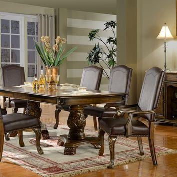 7 pc Chicago collection dark finish wood dining table set with faux leather upholstered chairs with nail head trim