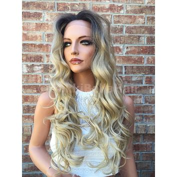 "Tammy Beach Blond Ombre Human Hair Blend Lace Wig 26"" Long Toussled Messy Waves"