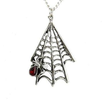 Spider Hanging on Web Necklace Halloween Pendant Jewelry