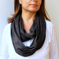 FREE SHIPPING Unisex Slate Grey Infinity Scarf Eternity Scarf Urban Outfit Wide Cotton Jersey Scarf Fabric Solid Color