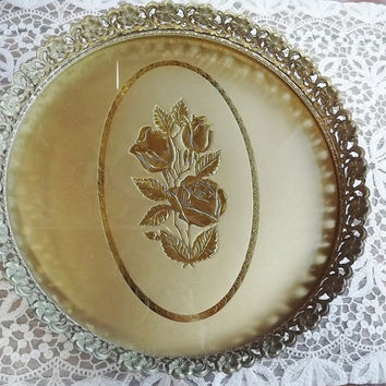 Vintage Vanity/Dresser Tray with Gold Floral Filigree and Rose Bouquet Centerpiece Design