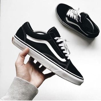 Vans Classics Old Skool Trending Women Men Low Help Sport Shoe Sneaker Black(White line) I