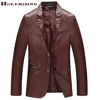 New Arrive Fashion Spring Men Jackets Pu Leather Leisure Coats Slim Fit Thin Soft Outwear