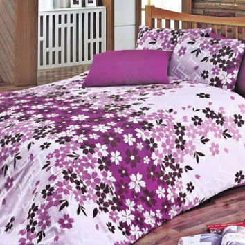 Custom Queen or Full Size Lilac, Dark Purple, Plum, Pink, Floral Printed on Lilac Backround Duvet cover Set, 3pcs